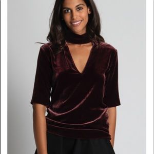 Theory Slit Collar V Neck Top in Dark Currant